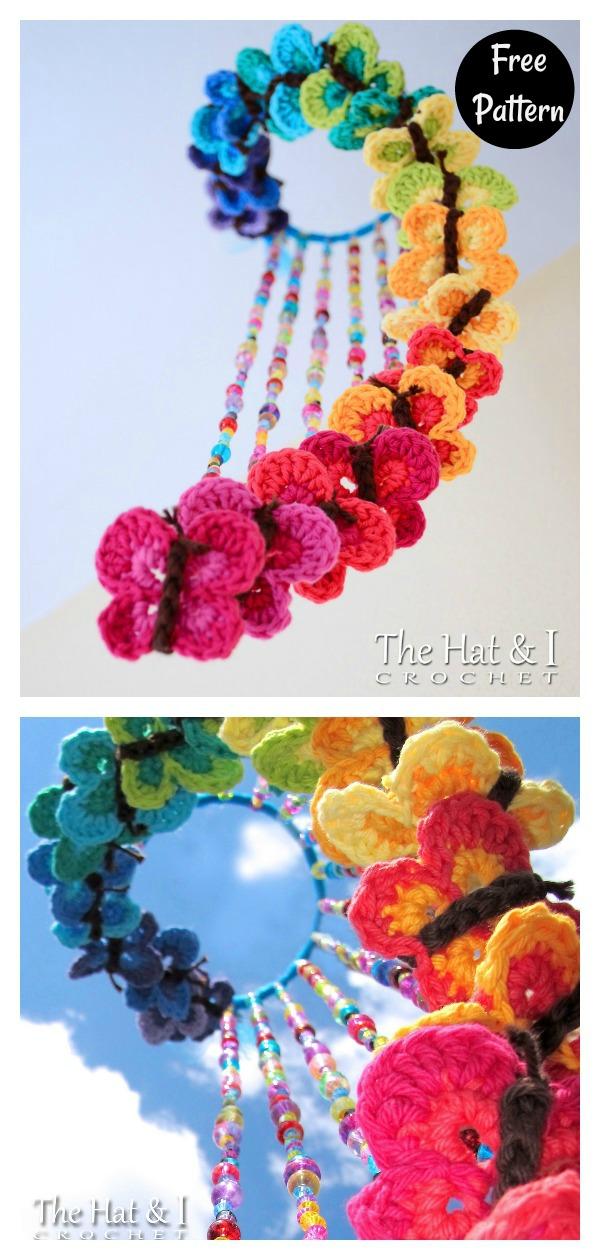 Rainbow Butterflies Mobile Free Crochet Pattern