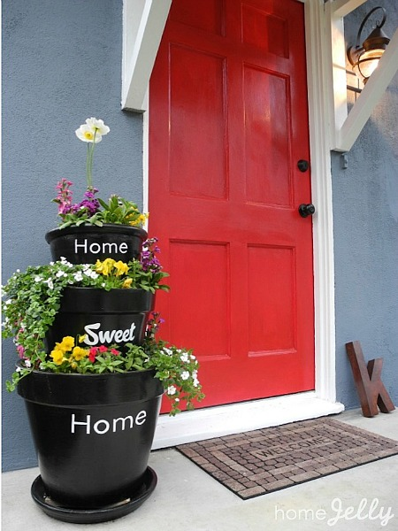 Stacked Planters For Your Home Welcoming Doorway