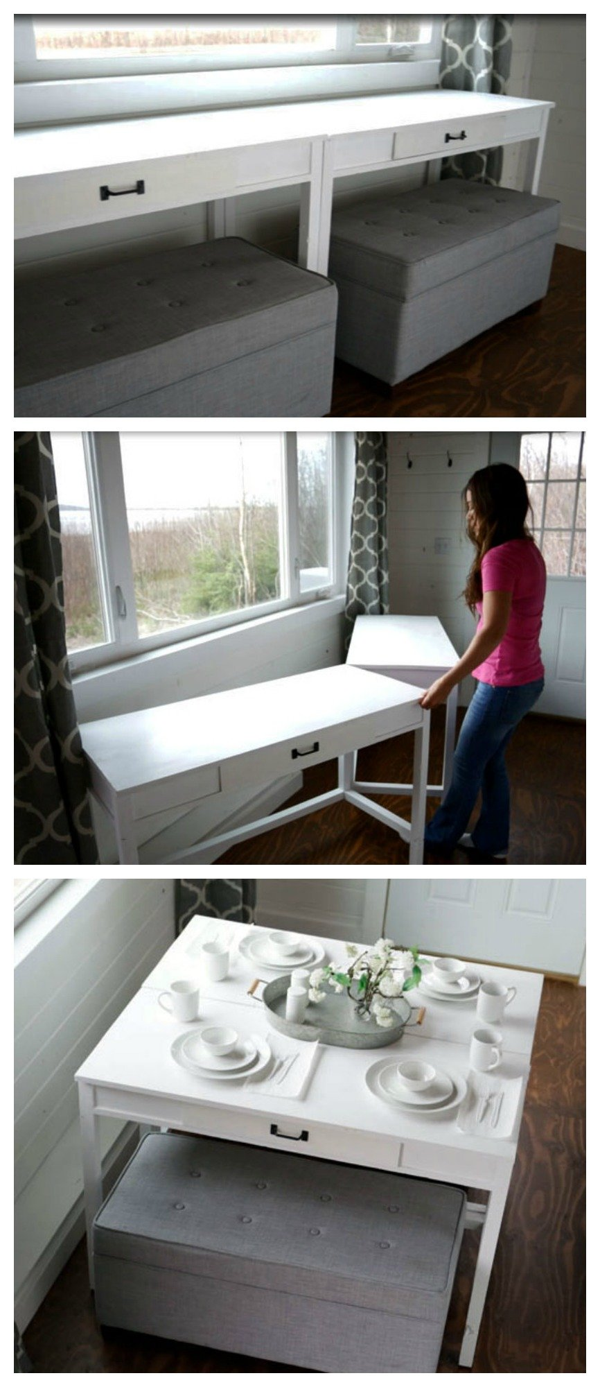 Diy Convertible Desk Space Saving Idea