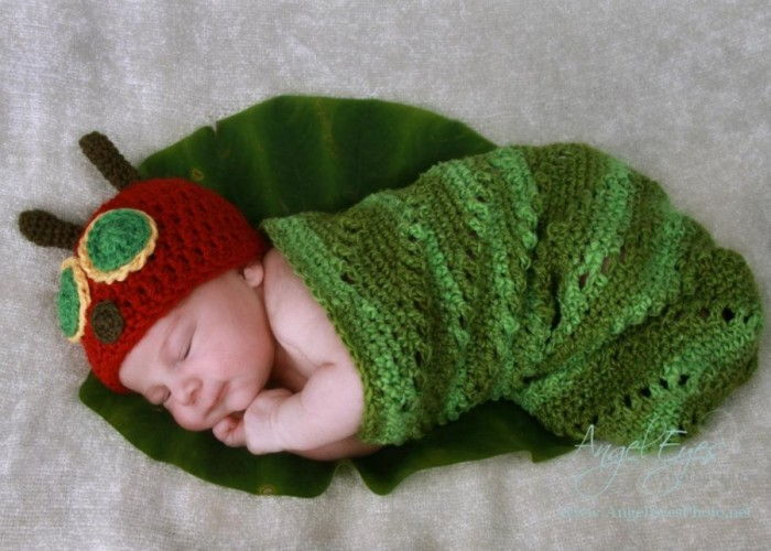 Free Knitting Pattern Baby Cocoon And Hat : Crochet Hungry Caterpillar Cocoon and Hat Set with Free Pattern
