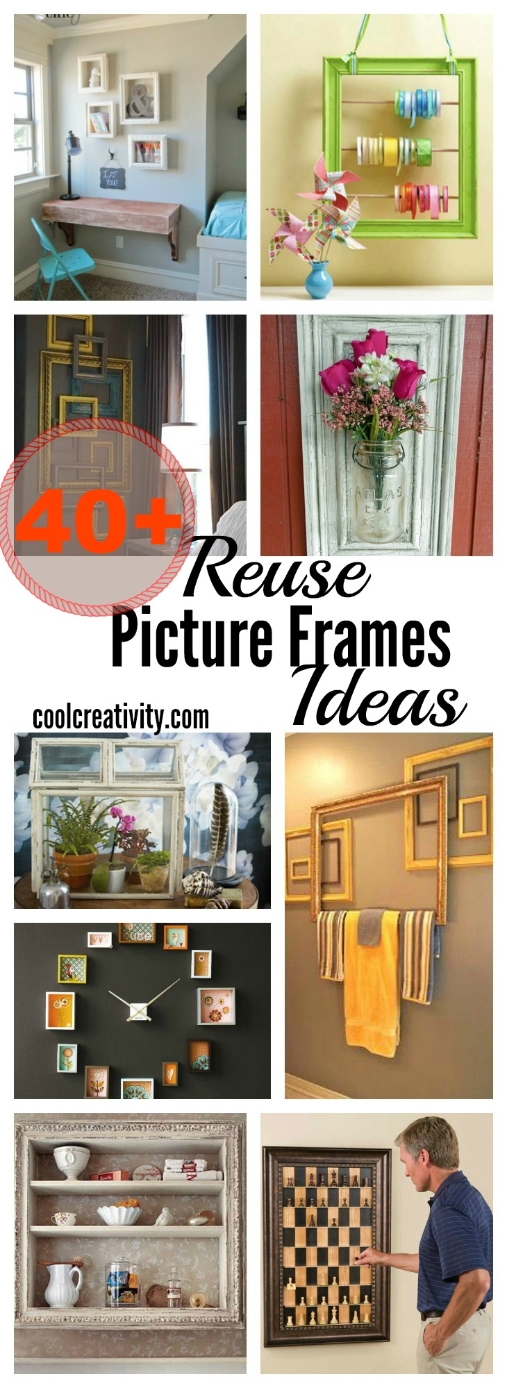 40+ Creative Reuse Old Picture Frames Into Home Decor Ideas