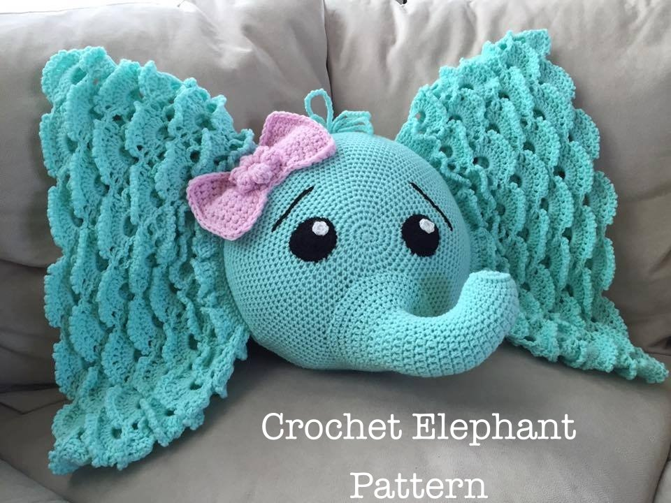 Crochet Elephant Pillow with Pattern