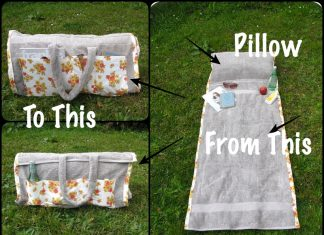 Make Beach Towel Bag With Pillow