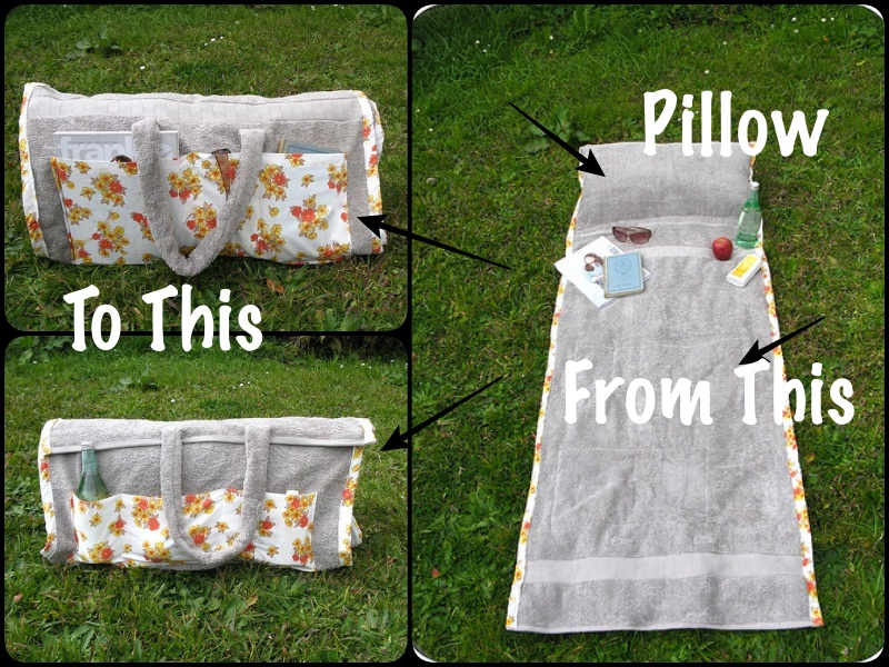 How To Make A Tote Bag That Turns Into Beach Towel With Pillow