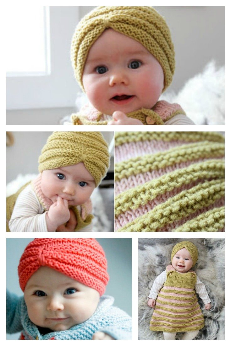 Free Knitting Patterns For Baby Hats On Pinterest : Knit Baby Turban Hat with Free Pattern