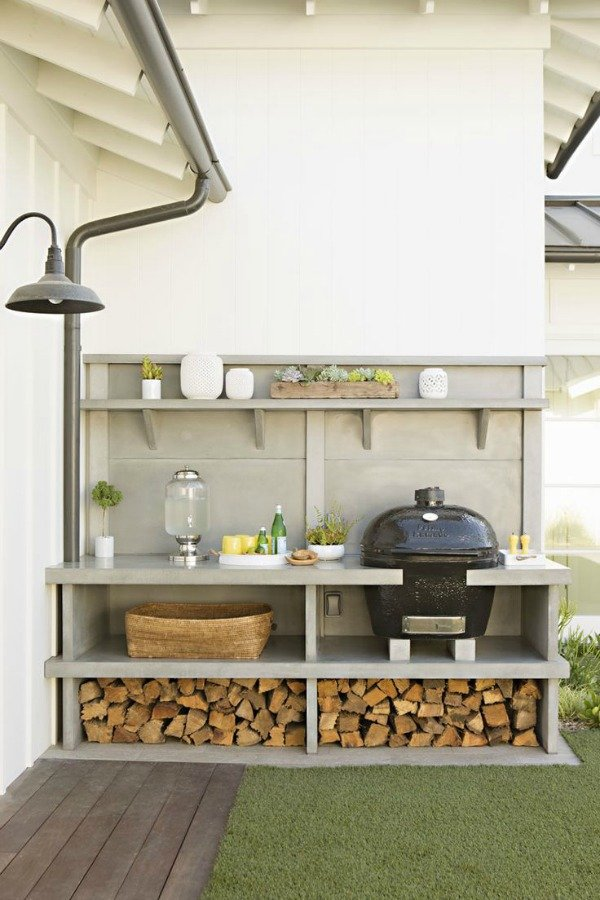 Built in outdoor grill space