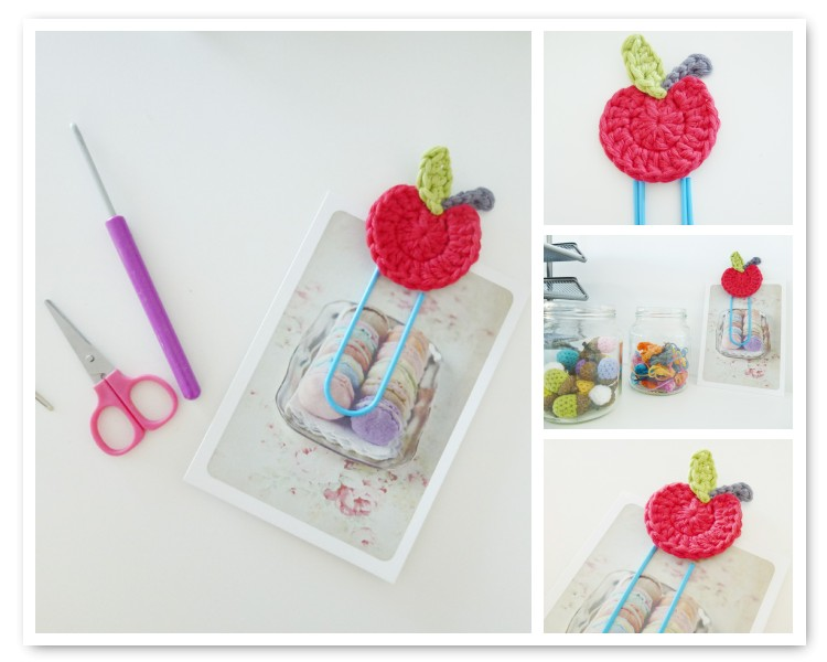 Crochet Apple Paperclip Bookmark Tutorial