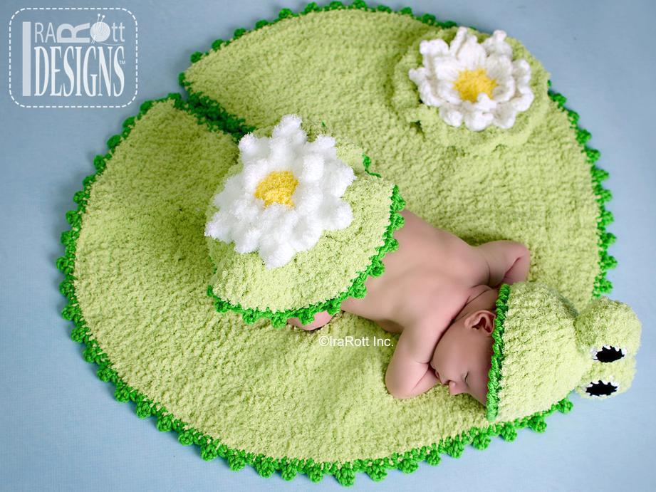 Crochet Baby Frog on a Lily Pad with Pattern