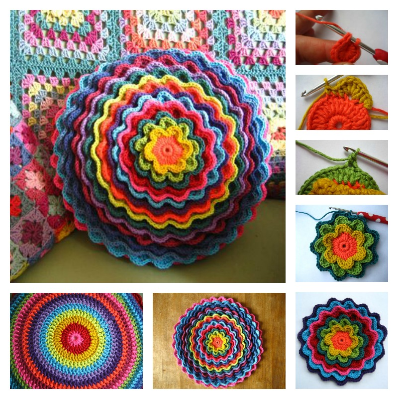 Crochet Blooming Flower Cushion