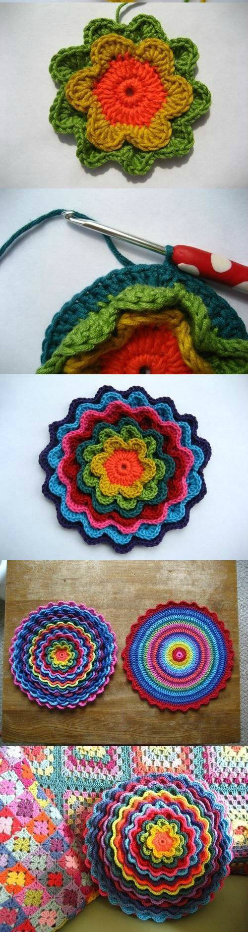 Crochet Flower Cushion Pattern Free : Crochet Blooming Flower Cushion with Free Pattern