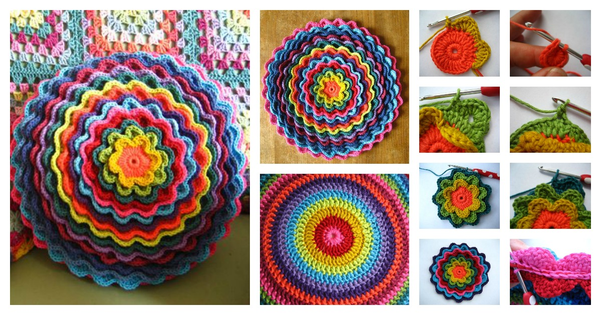 Crochet Blooming Flower Cushion With Free Pattern