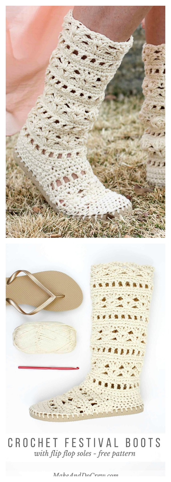 1b625be93902b4 Crochet Coachella Boots with Flip Flop Soles Free Pattern