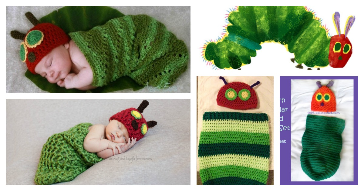 Crochet Hungry Caterpillar Cocoon and Hat Set with Free ...