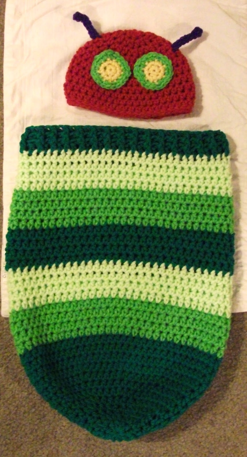 Crochet Hungry Caterpillar Cocoon and Hat Set with Free Pattern