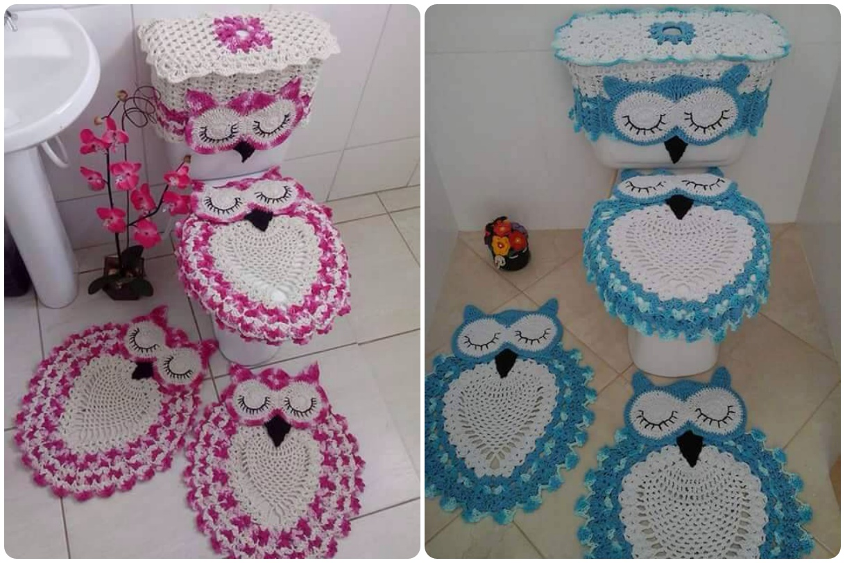 Owl Bathroom Set With Free Pattern