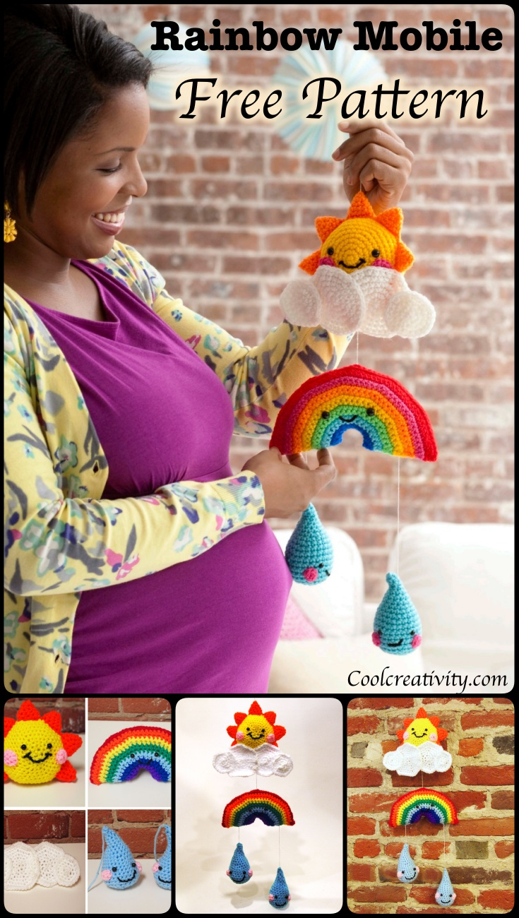 Crochet Rainbow Mobile with Free Pattern