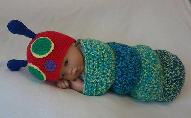 Crochet Caterpillar Hat Pattern : Crochet Hungry Caterpillar Cocoon and Hat Set with Free ...