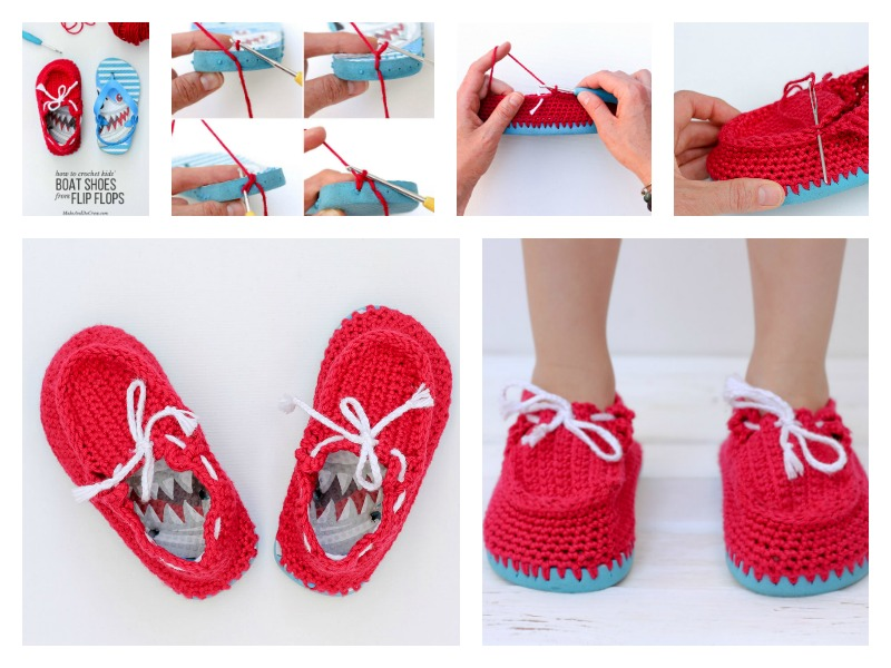 "Crochet toddler ""boat shoe"" slippers with flip flop soles"