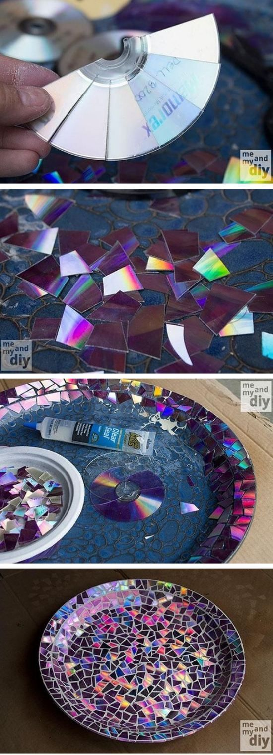 DIY CDs Birdbath Craft