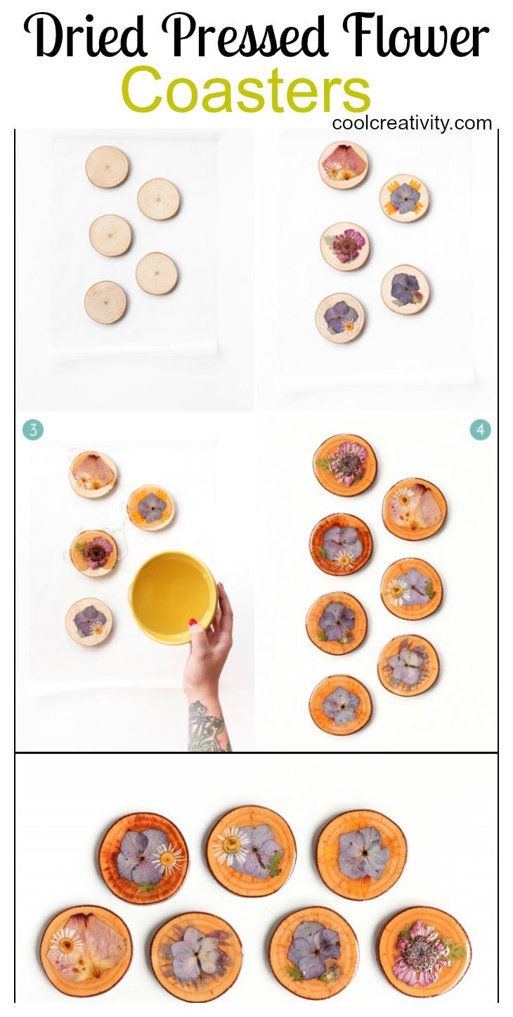 DIY Dry Pressed Flower Wooden Coasters