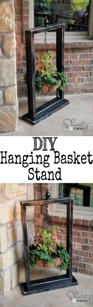 DIY Hanging Basket Stand From Picture Frames