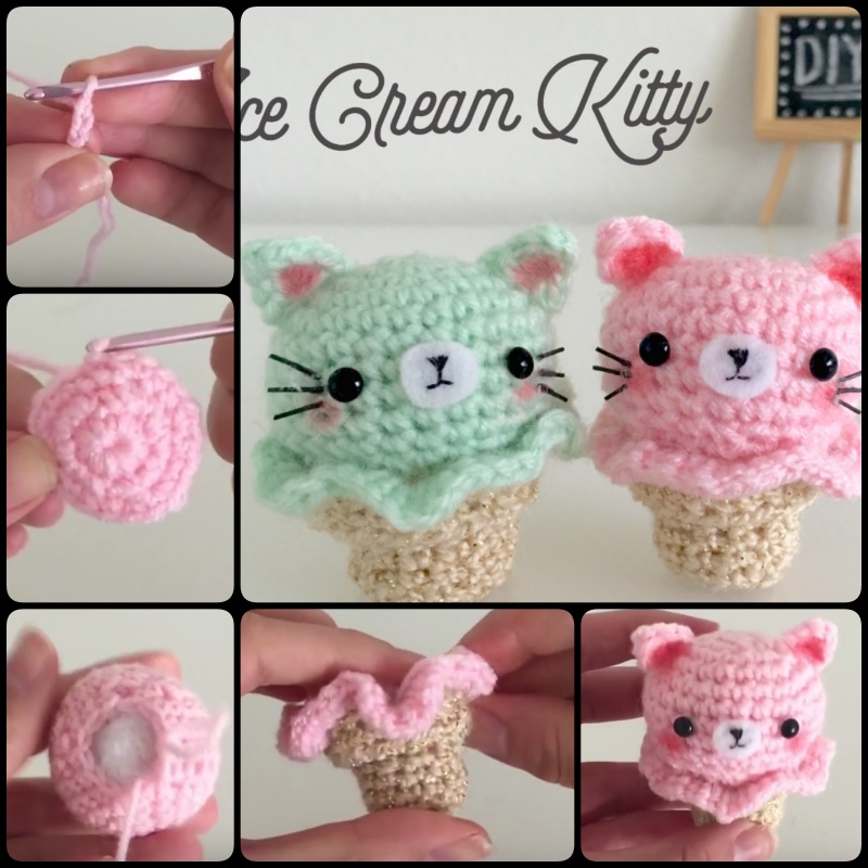 Tutorial Amigurumi Kitty : DIY Crochet Kitty Ice Cream Amigurumi Tutorial (Video)