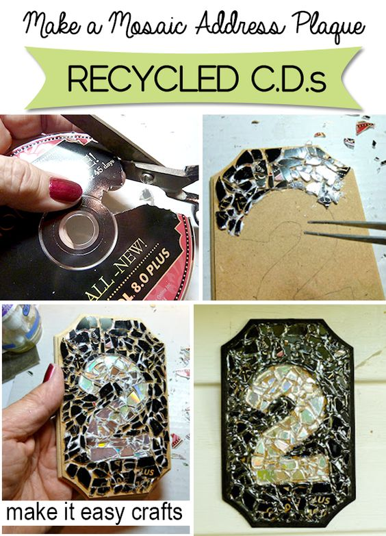 DIY Mosaic Address Plaque from Recycled CDs