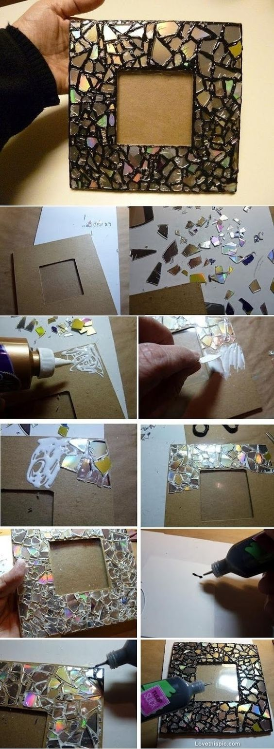DIY Mosaic Frame from Old CDs diy crafts craft ideas easy crafts diy ideas diy idea diy home easy diy for the home crafty decor home ideas diy decorations diy frame