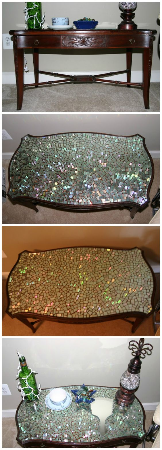 DIY CDs Mosaic Table