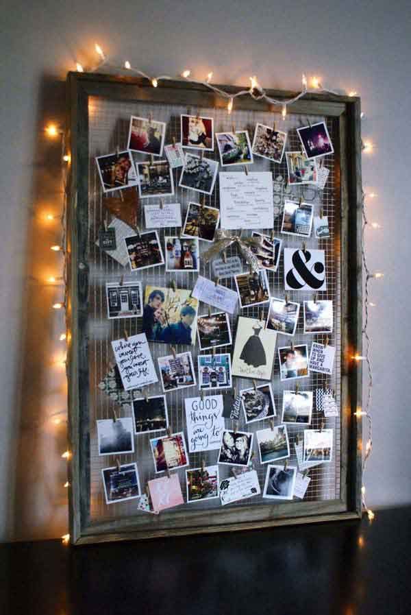 DIY Photo Display from Old Frame