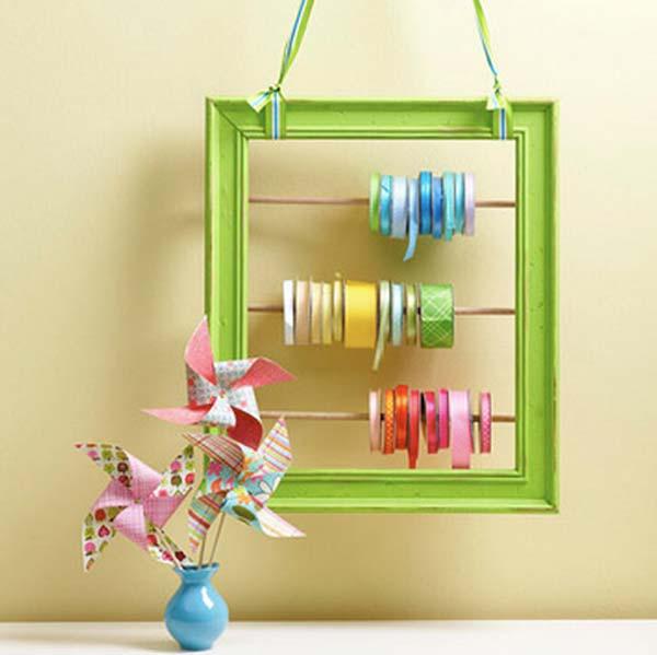 DIY Ribbon Holder From Frames