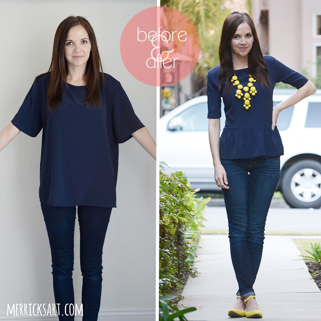 DIY T-shirt into Peplum Top
