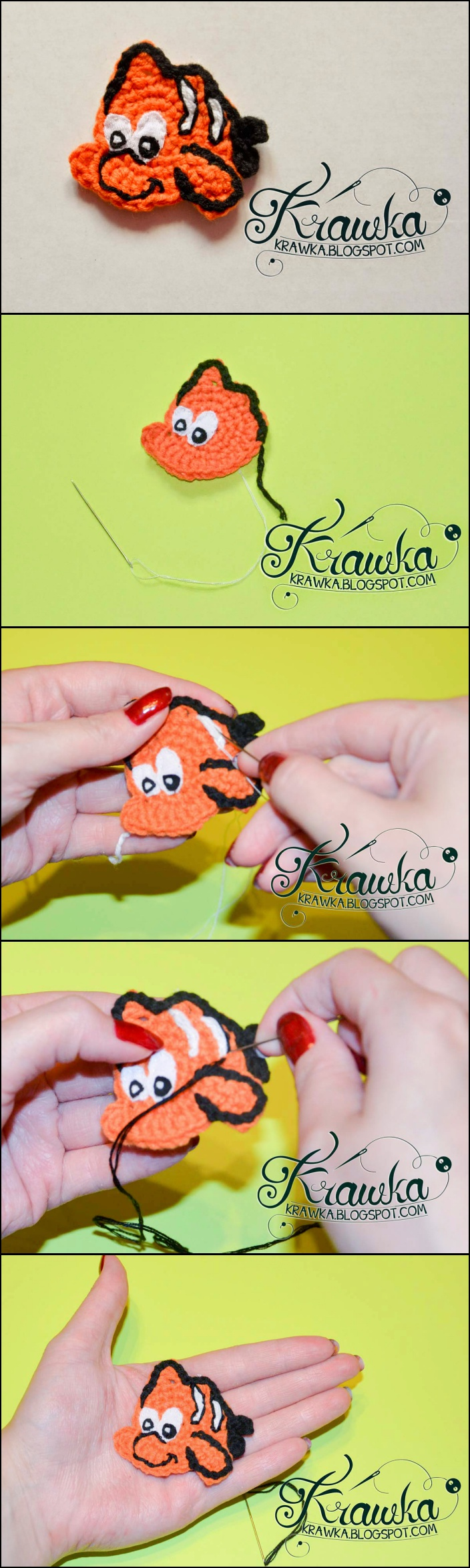 Free Crochet Nemo fish Applique Pattern