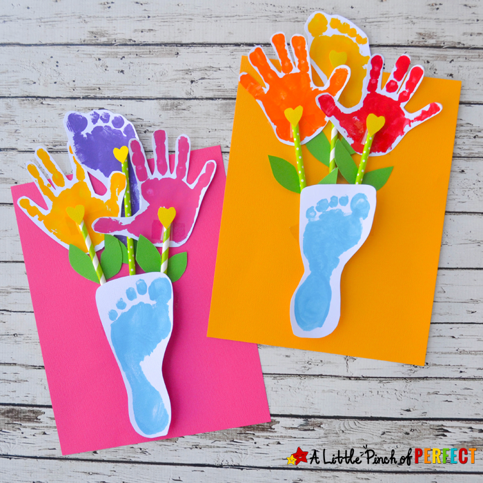 Handprint and Footprint Flowers and Vase