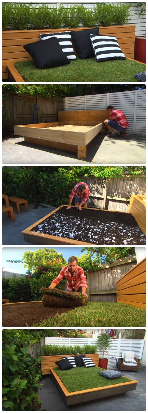 How to Build a Grass Day Bed in Your Backyard
