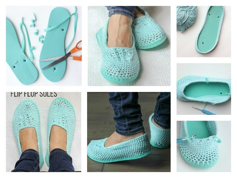 55324e27951db6 How to Crochet Slippers with Flip Flop Soles