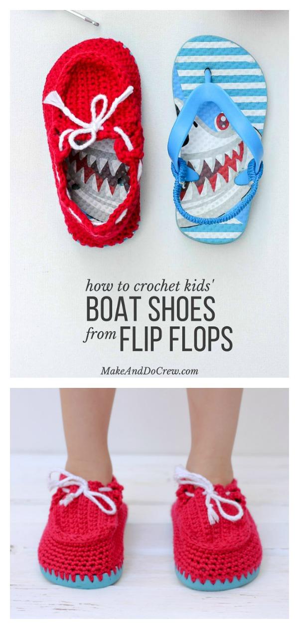 Kids Boat Shoe Slippers with Flip Flop Soles Free Crochet Pattern
