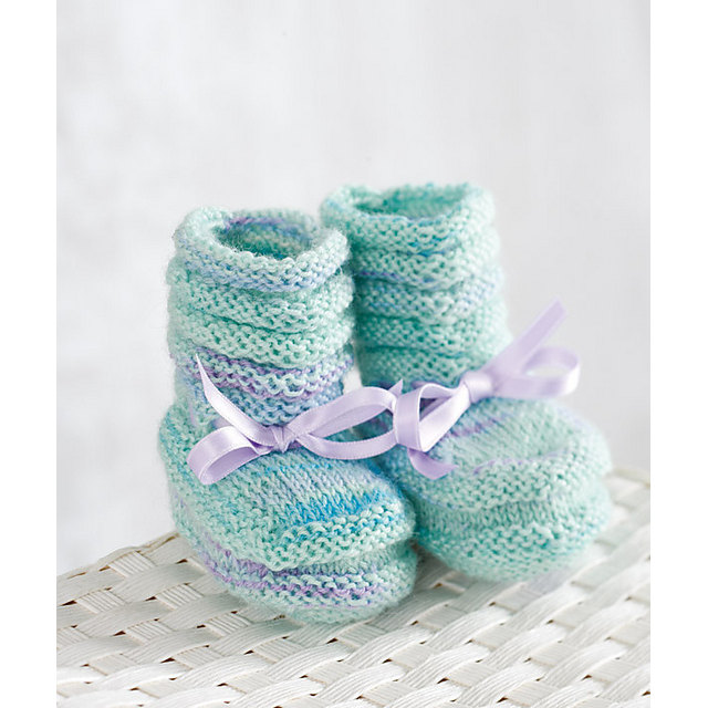 Knitting Patterns For Booties Free : 40 + Knit Baby Booties with Pattern