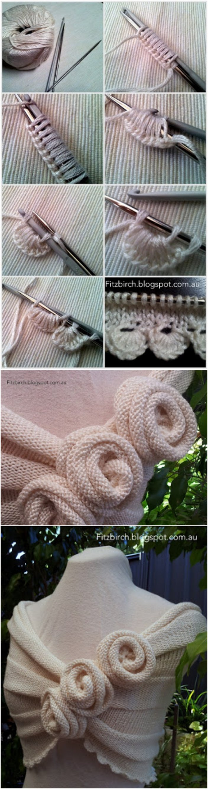 Knitting Summer Rose Capelet with Tutorial