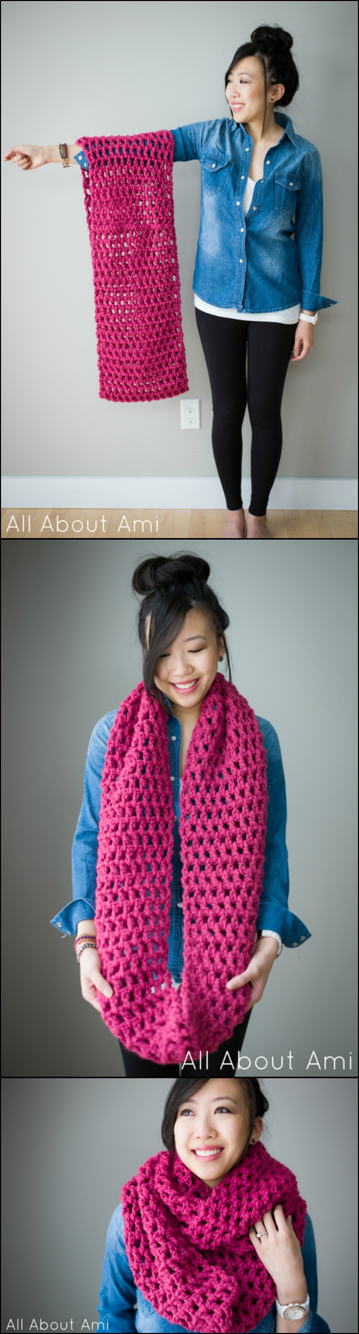 Long Double Crochet Cowl with Free Pattern
