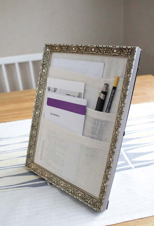 Office Desk Organizer From A Picture Frame
