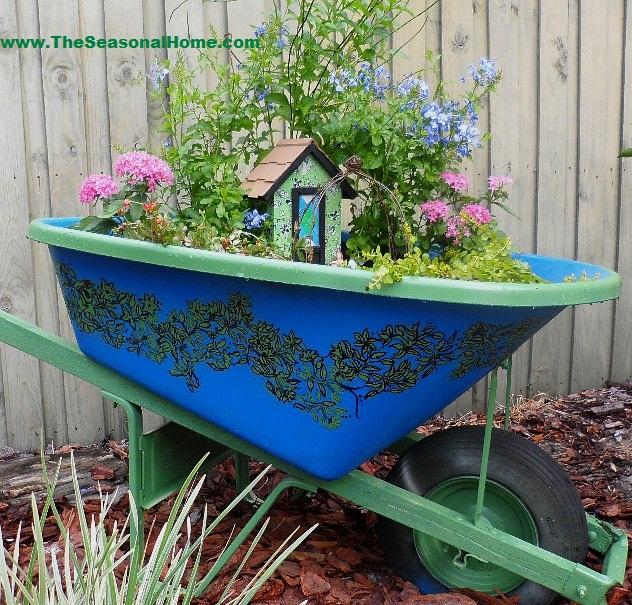 Secret Fairy Garden in an Upcycled Wheelbarrow