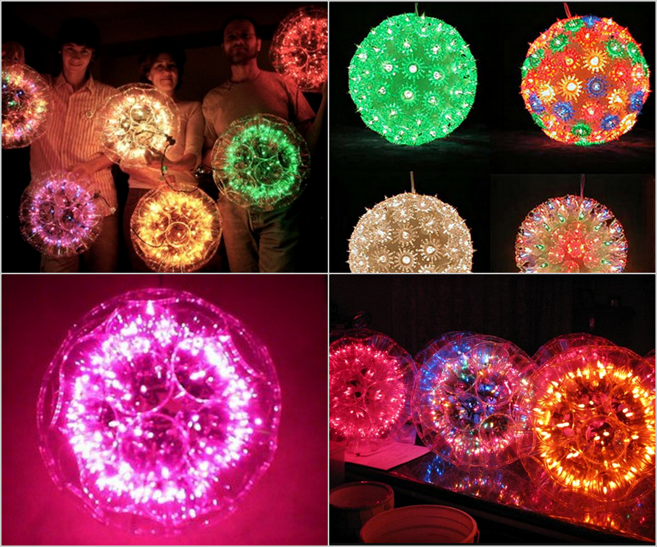 DIY Sparkle Ball with String Lights and Plastic Cups