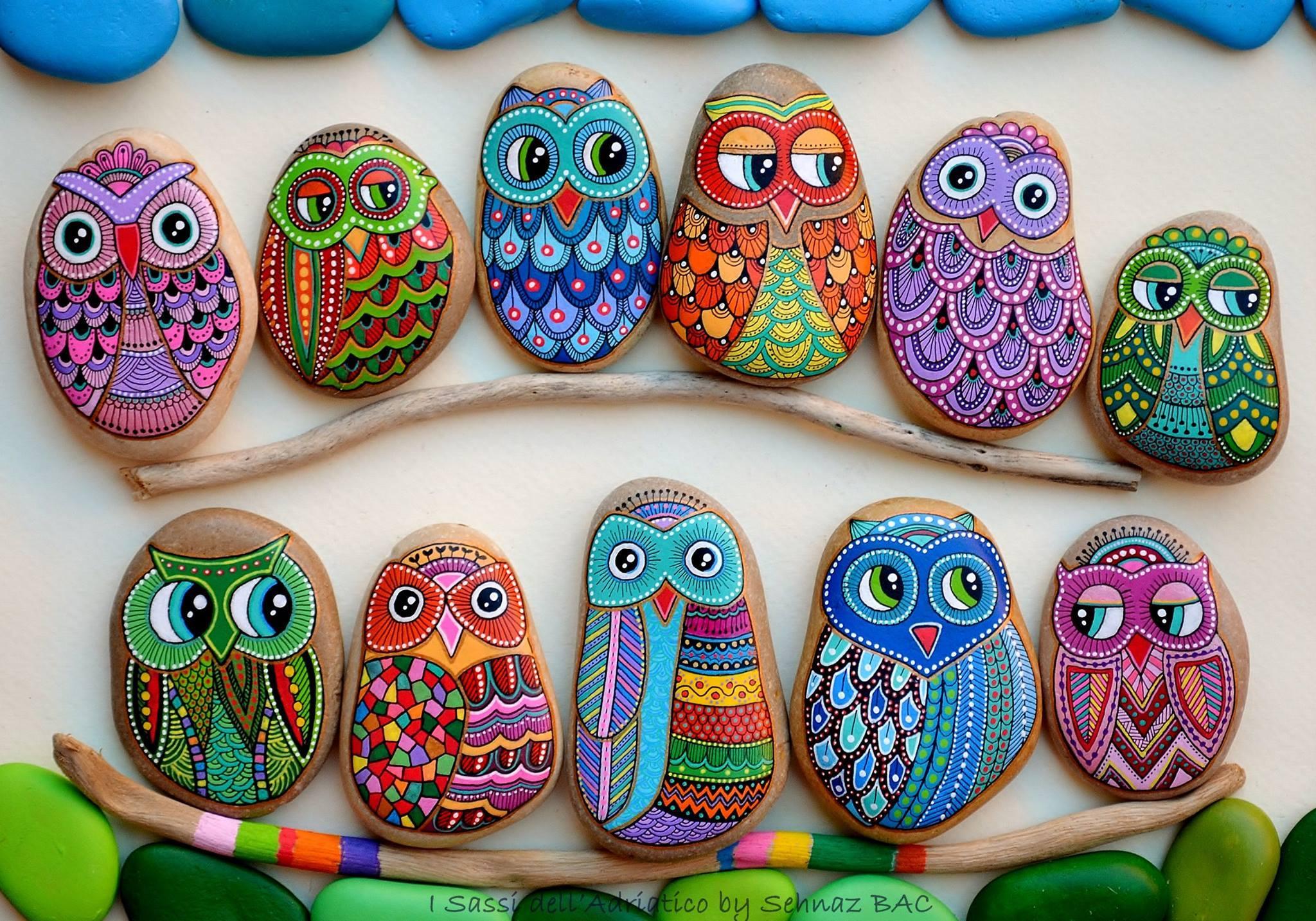 Stone art- happy owls