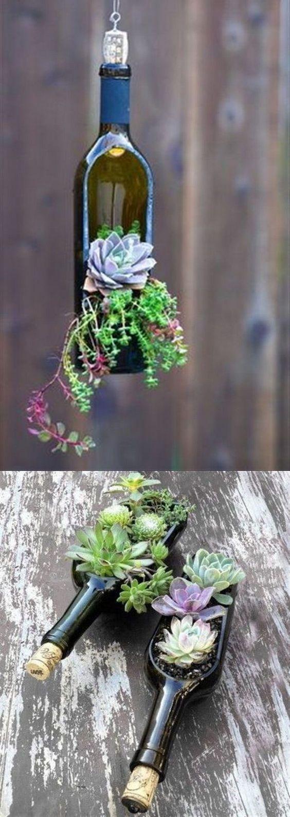 Succulent Wine Bottle Planters