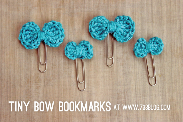 Tiny Crochet Bow Bookmarks