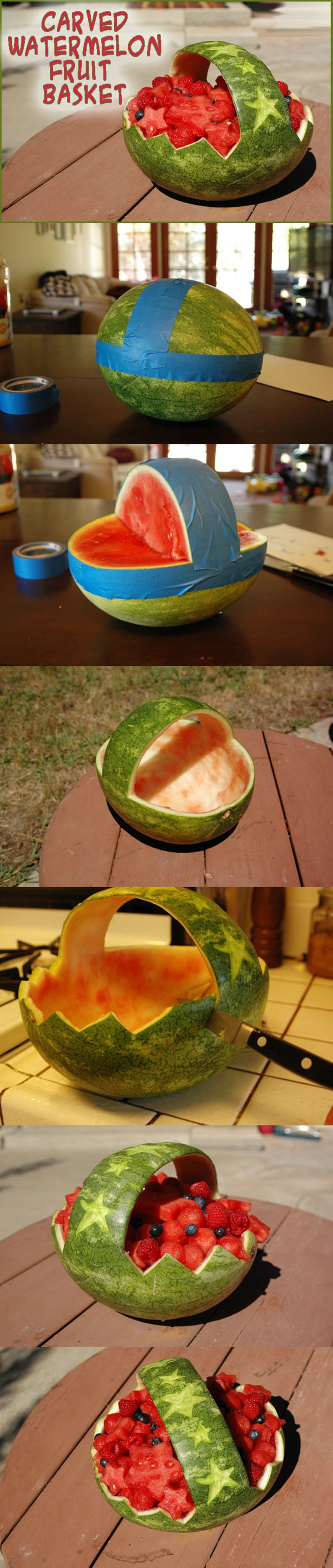 Carved Watermelon Fruit Basket