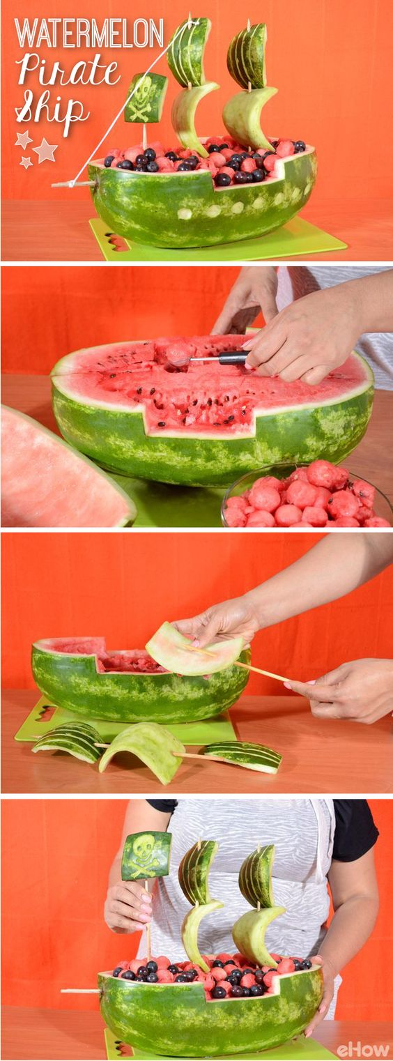 Watermelon Pirate Ship Carving