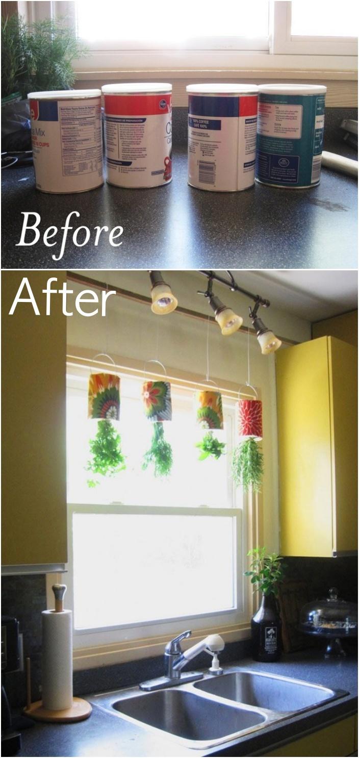 18 Indoor Herb Garden Ideas--DIY Coffee Tin Hanging Herb Garden