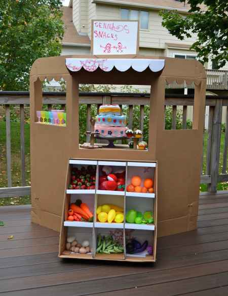 30+ Fun Ways To Repurpose Cardboard For Kids----Fruit Stand Storefront